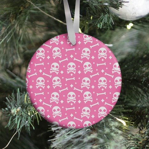 Cute Skull N' Bones Pattern (Pink) Ornament