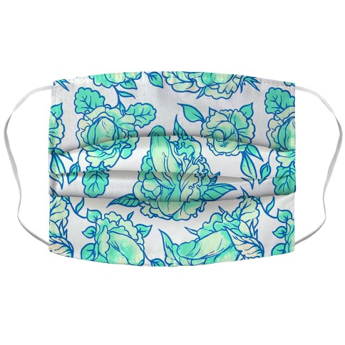 Floral Penis Pattern Teal Accordion Face Mask