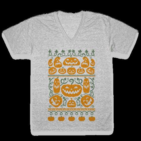 Ugly Pumpkin Sweater V-Neck Tee Shirt