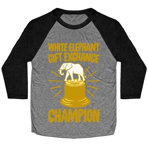 White Elephant Gift Exchange Champion Baseball Tee