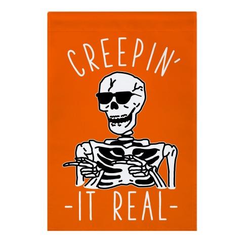 Creepin' It Real Skeleton  Garden Flag