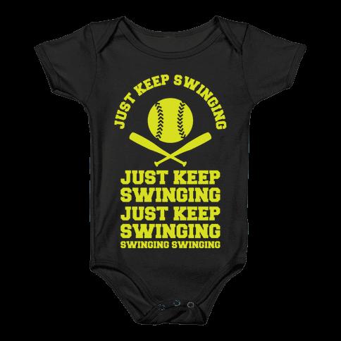 Just Keep Swinging Baby Onesy