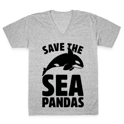 Save The Sea Pandas (cmyk) V-Neck Tee Shirt