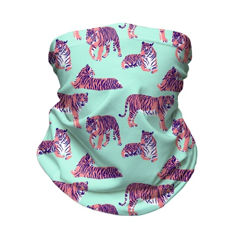 Tiger Pattern Pink and Bright Blue Neck Gaiter