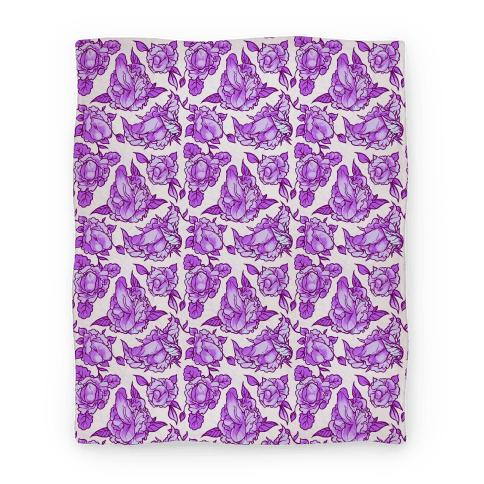 Floral Penis Pattern Purple Blanket