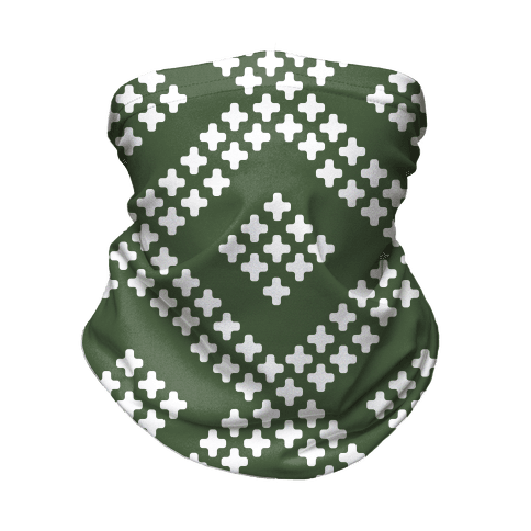 Little Cross Pattern Chive Green Neck Gaiter