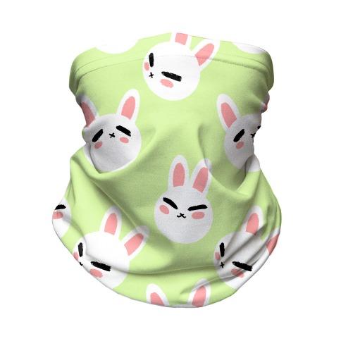BunBun Pattern Green Neck Gaiter