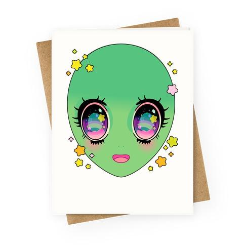Anime Eyes Alien Greeting Card