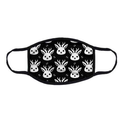 Cute Jackalope Black and White Pattern Flat Face Mask