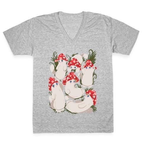 Mushroom Cats Pattern V-Neck Tee Shirt