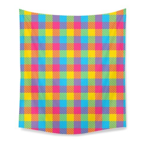 Pan Pride Flag Plaid Tapestry