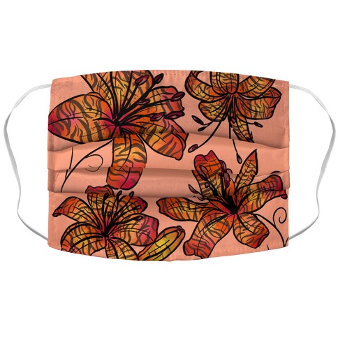 Peachy Tiger Lillies with Tiger Stripes Pattern Accordion Face Mask