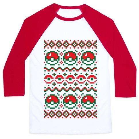 Pokball Ugly Christmas Sweater Pattern Baseball Tee