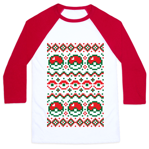 Pokball Ugly Christmas Sweater Pattern Baseball Tee