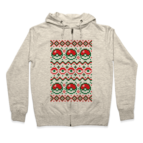 Pokball Ugly Christmas Sweater Pattern Zip Hoodie