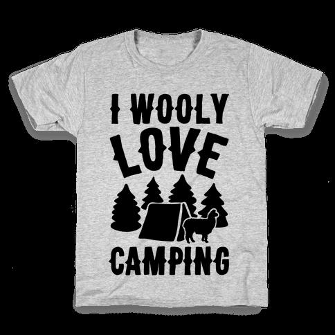 I Wooly Love Camping Alpaca Camping Parody Kids T-Shirt