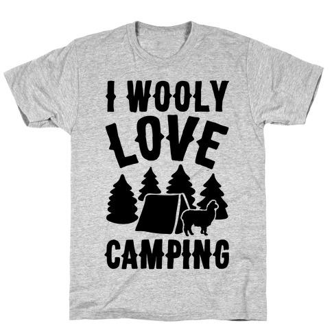 I Wooly Love Camping Alpaca Camping Parody T-Shirt