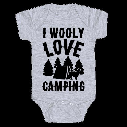 I Wooly Love Camping Alpaca Camping Parody Baby Onesy