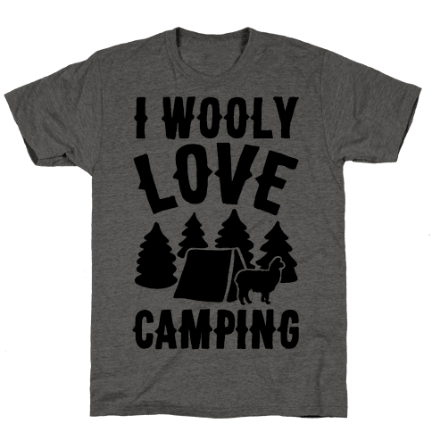 I Wooly Love Camping Alpaca Camping Parody Mens T-Shirt