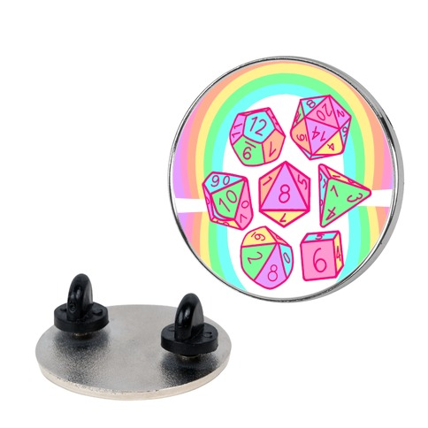 RPG Dice Pastel Rainbows Pin