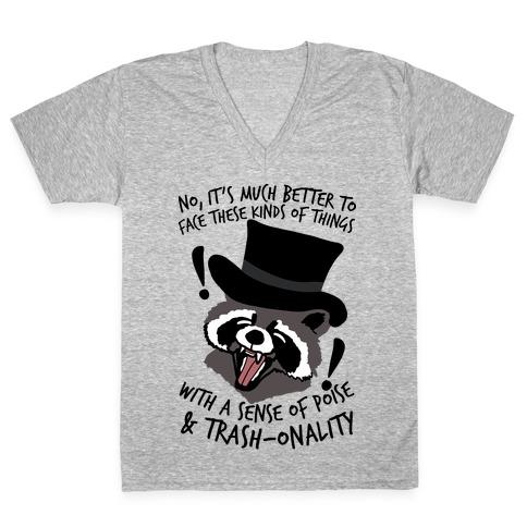 Trash-onality Emo Raccoon V-Neck Tee Shirt