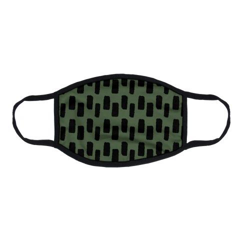 Organic Rectangle Pattern Green Flat Face Mask
