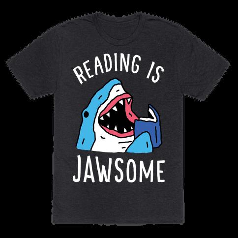 Reading Is Jawsome Shark Mens T-Shirt