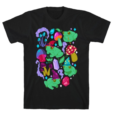 Magical Mushroom Frogs Pattern T-Shirt