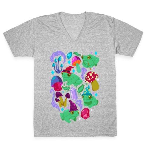 Magical Mushroom Frogs Pattern V-Neck Tee Shirt