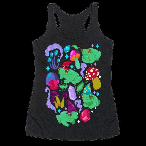 Magical Mushroom Frogs Pattern Racerback Tank Top