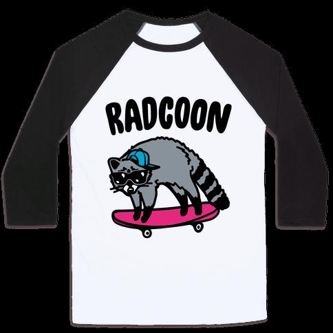 Radcoon Rad Raccoon Parody Baseball Tee