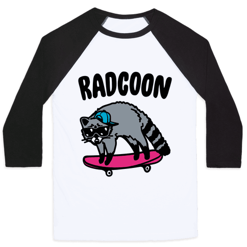 Radcoon Rad Raccoon Parody Baseball Tee