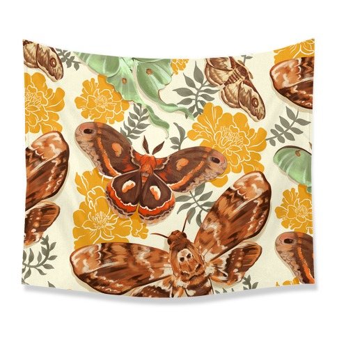 Moths and Marigolds tapestry
