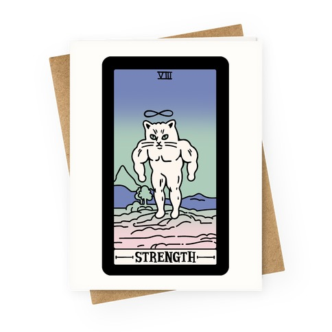 Strength Cat Meme Tarot Card Greeting Card