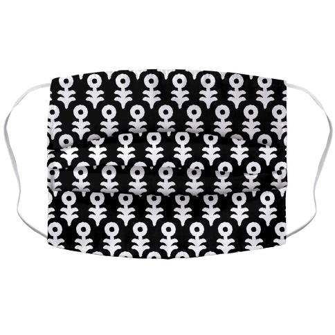 Minimal Flower Boho Pattern Black and White Face Mask Cover