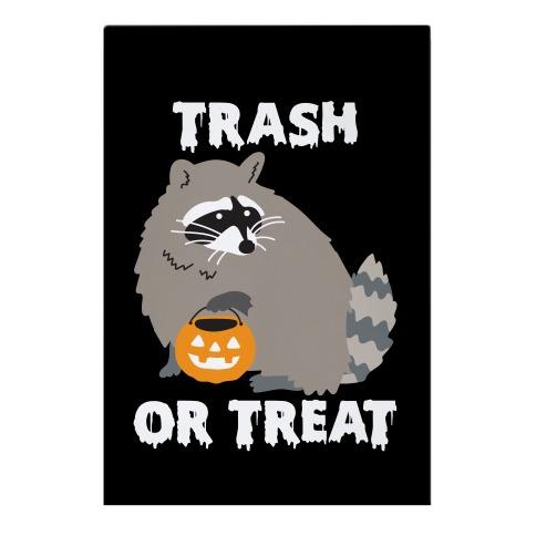 Trash Or Treat Raccoon Garden Flag