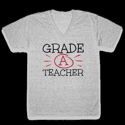 Grade A Teacher V-Neck Tee Shirt