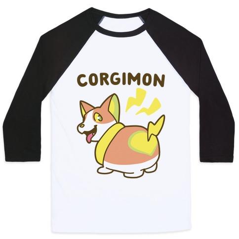 Corgimon Baseball Tee