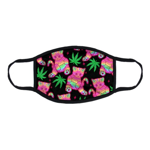 Rainbow Weed Kitty Flat Face Mask