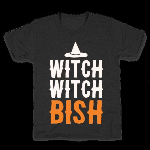 Witch Witch Bish Parody White Print Kids T-Shirt