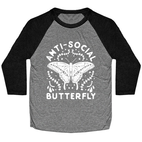 Anti-Social Butterfly Baseball Tee
