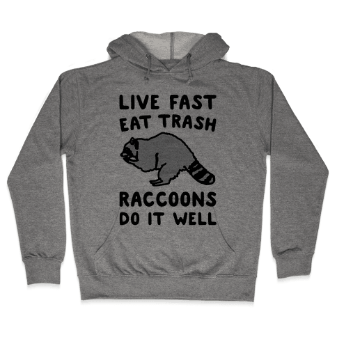 Live Fast Eat Trash Raccoons Do It Well Parody Hooded Sweatshirt