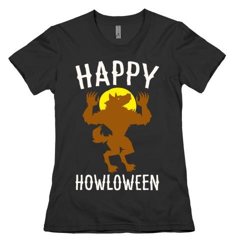 Happy Howloween Werewolf Parody White Print Womens T-Shirt