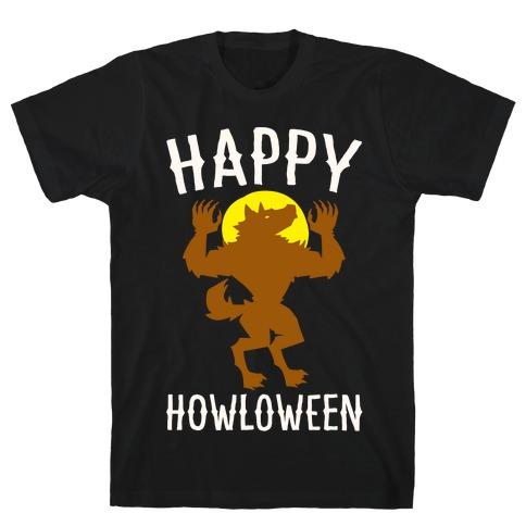 Happy Howloween Werewolf Parody White Print T-Shirt