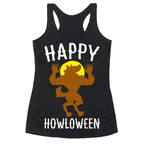 Happy Howloween Werewolf Parody White Print Racerback Tank Top