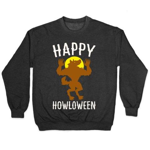 Happy Howloween Werewolf Parody White Print Pullover
