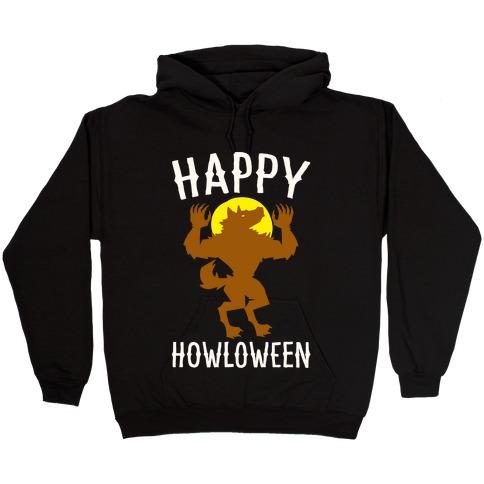 Happy Howloween Werewolf Parody White Print Hooded Sweatshirt