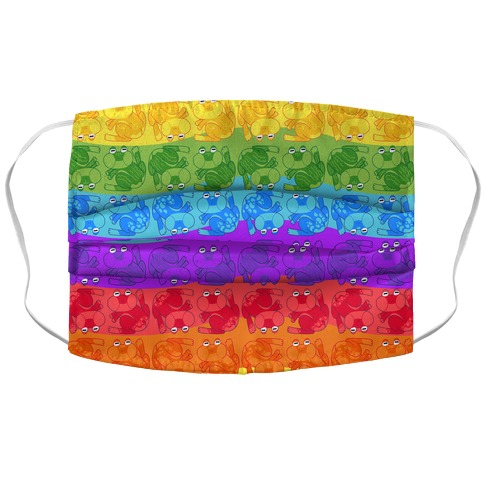 Rainbow Pride Frogs Accordion Face Mask