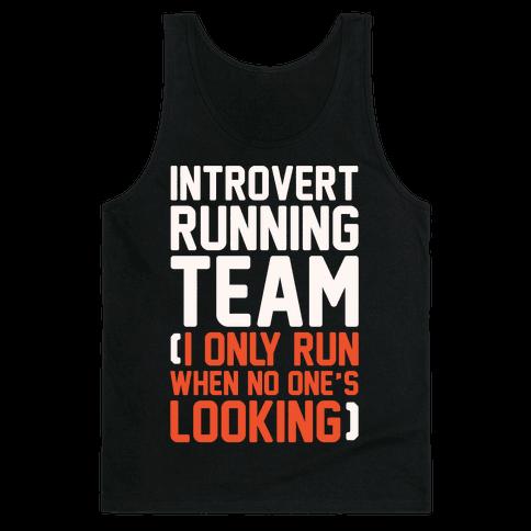 Introvert Running Team White Print Tank Top