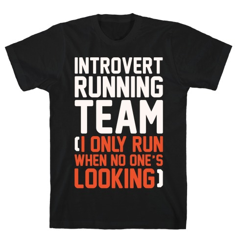 Introvert Running Team White Print T-Shirt